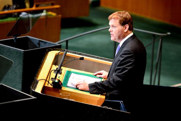 جان برد وزیر امور خارجه کانادا در سازمان ملل سخنرانی کرد