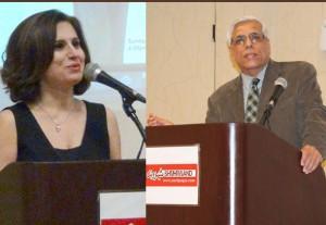 حسن زرهی سردبیر شهروند از تورنتو و پروین کوه گیلانی دبیر دفتر دالاس شهروند در مراسم سخنرانی کردند
