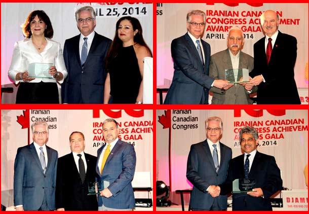 بهرام پارسی و شمسی شاهرخی (بالا) و جواد مستقیمی و مهرداد آرین نژاد از سوی کنگره ایرانیان کانادا تقدیر شدند