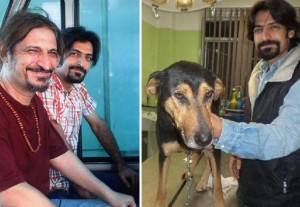 حشمت طبرزدی (چپ) در کنار پسرش علی که فعال حقوق حیوانات است