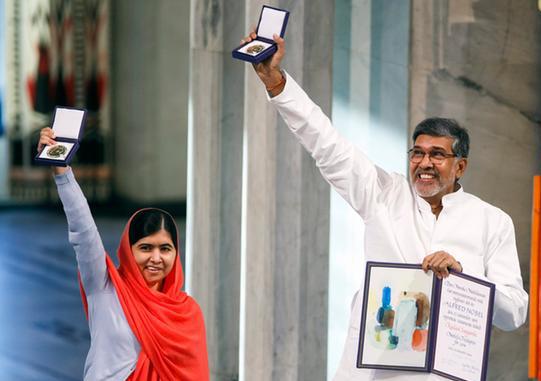 ملاله یوسف زی و کاتیاش برندگان صلح نوبل