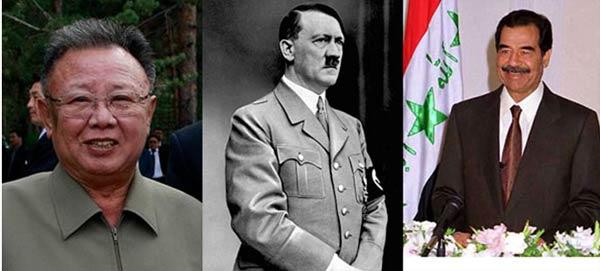 از راست: صدام حسین، آدولف هیتلر، کیم جونگ ایل