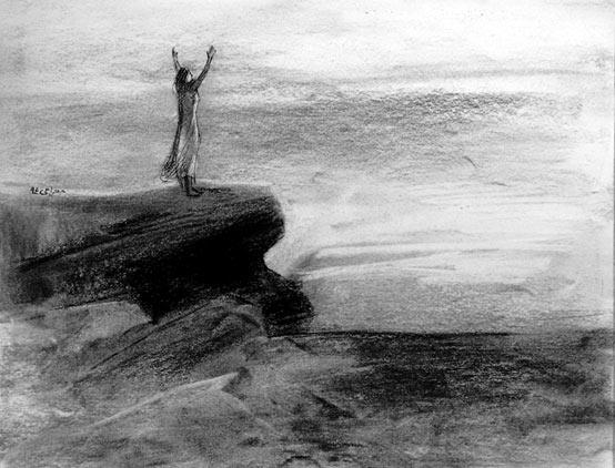 طرح محمود معراجی  زن و دریا