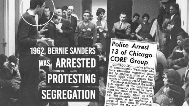 برنی ساندرز در سال 1962 برای شرکت در تظاهرات دستگیر شده بود