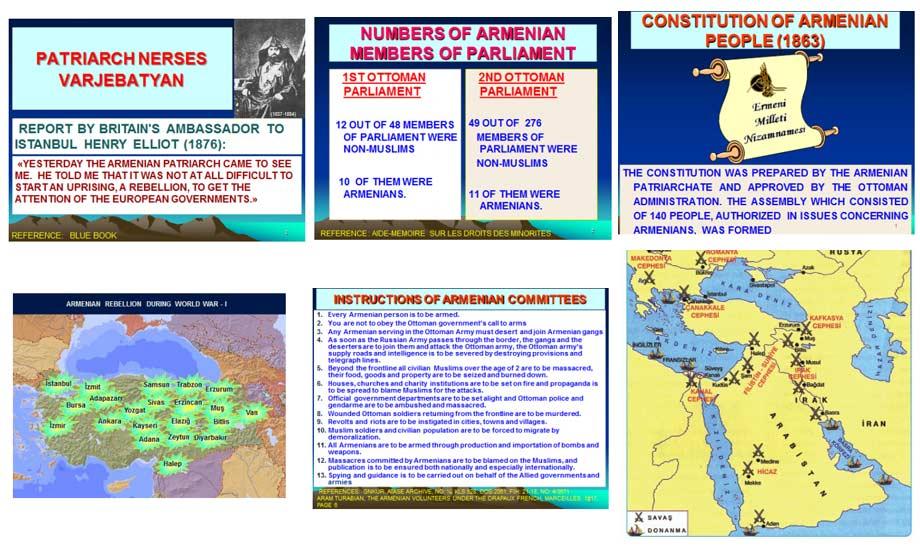 بالا راست: نظام نامه ملت ارمنی (1893) ـ 2ـ جبهه های جنگ عثمانی3ـدستورالعمل کمیته های ارمنی