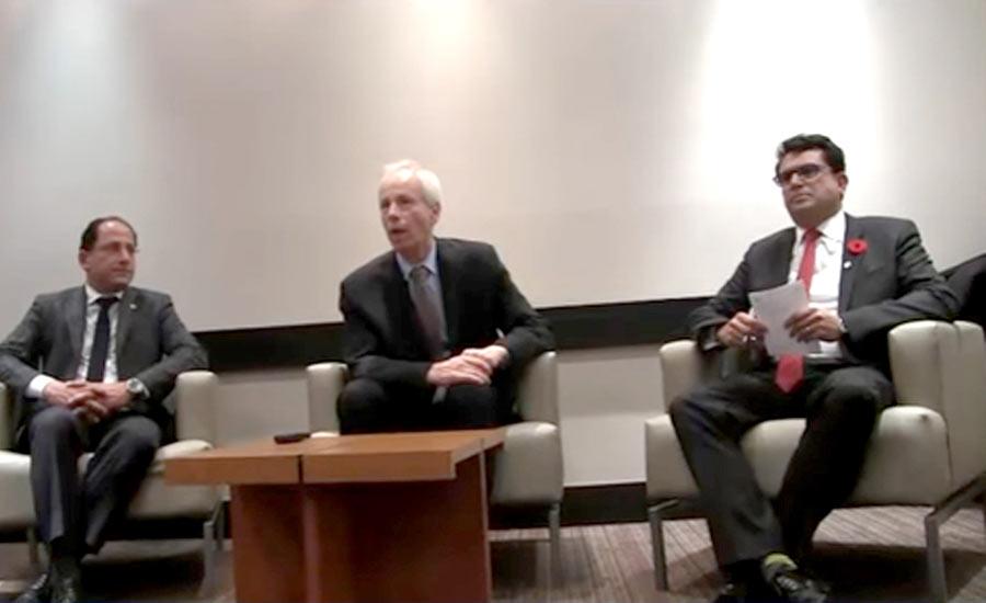 از راست: مجید جوهری نماینده پارلمان کانادا، استفان دیان وزیر امور خارجه کانادا، علی احساسی نماینده پارلمان کانادا